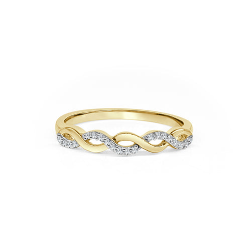 Diamond And Gold Twisted Ring