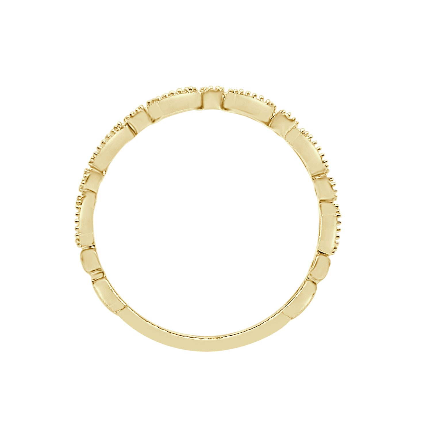 Round And Marquise Milgrain Diamond Band In Yellow Gold