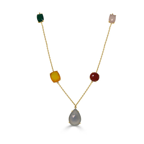 Mulitcolor Agate Fancy Stack Necklace