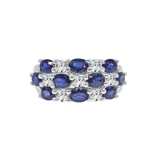 Fancy Wide 2.50 Carat Sapphire And Diamond Band