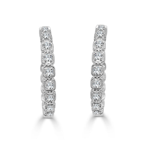 One Carat Diamond Fancy Cushion Hoop Earrings