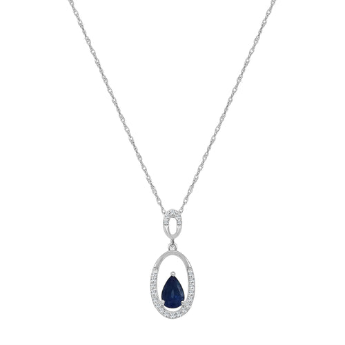 Pear Shape Sapphire and Diamond Open Pendant