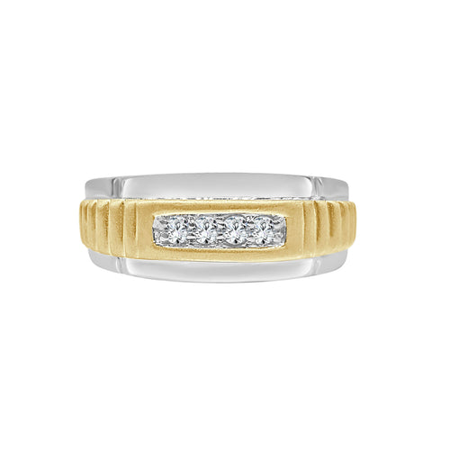 Gents Two-tone Four Diamond Ring