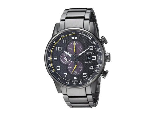 Citizen Mens Black Ecodrive Chronograph Watch Yellow Accents