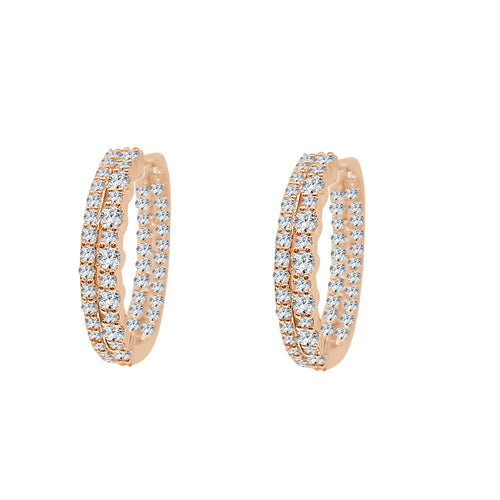 Inside Out 2 Carat Diamond Rose Gold Hoop Earrings