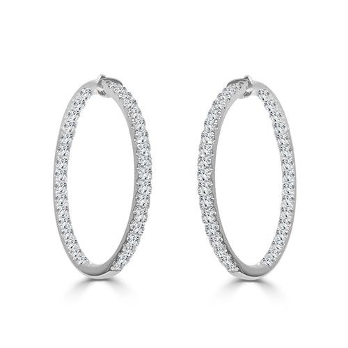 Inside-out 0.96 Carat Diamond Hoop Earrings