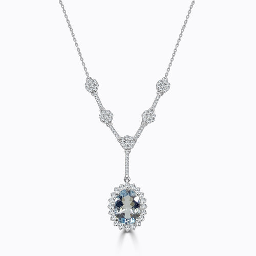 Oval Aquamarine With Fancy Halo And Diamond Drop Necklace