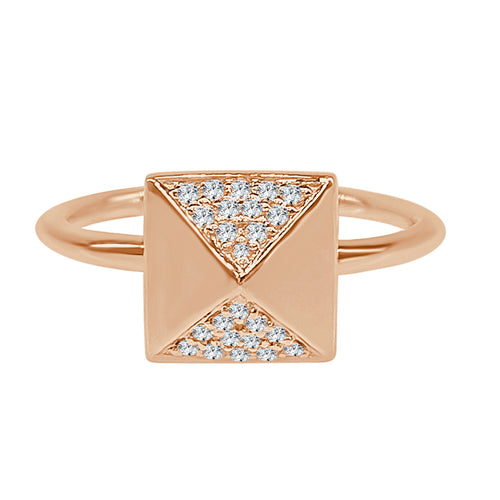 Pave Diamond Rose Gold Polished Square Ring