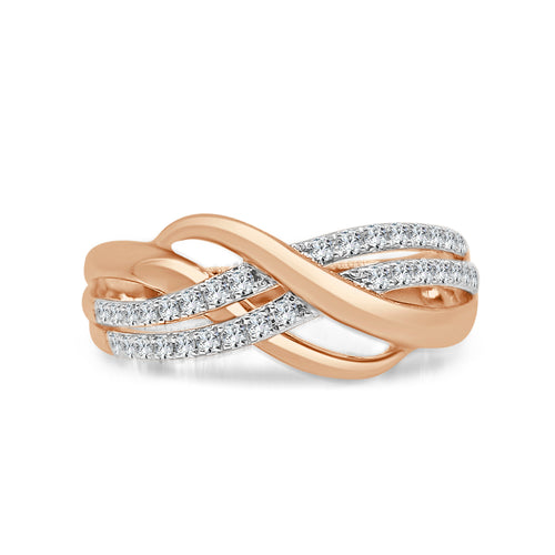Rose Gold Diamond Intertwined Fancy Ring