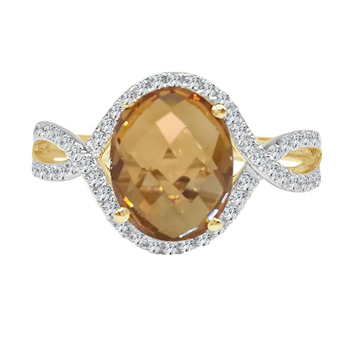 Oval Citrine And Diamond Twist Halo Yellow Gold Ring