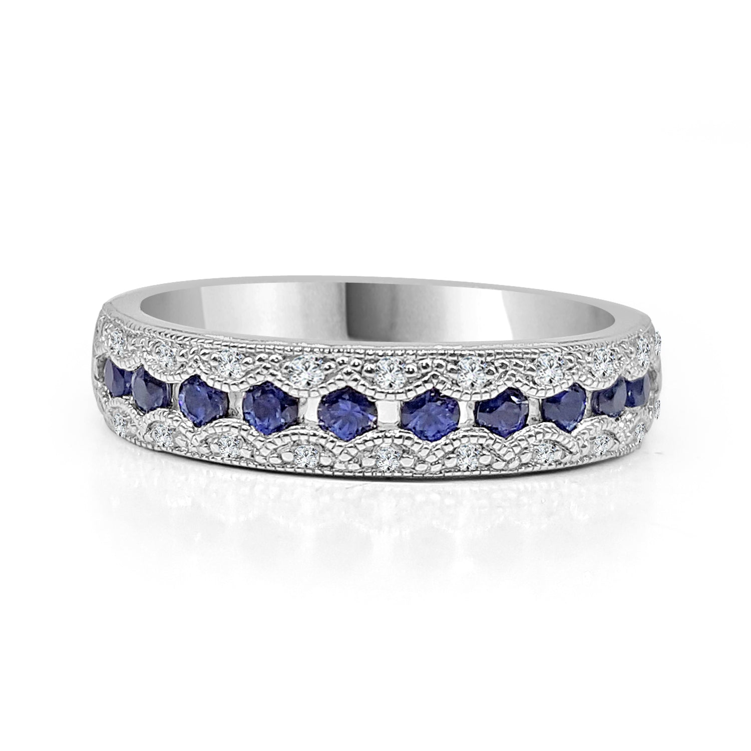 custom wedding diamond band pave side halo sapphire eternity