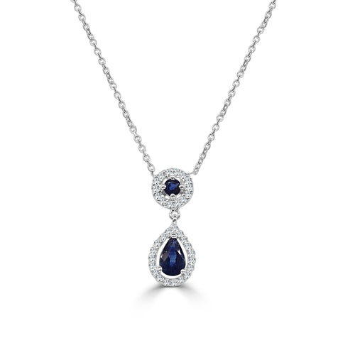 Fancy Sapphire Necklace With Diamond Halo