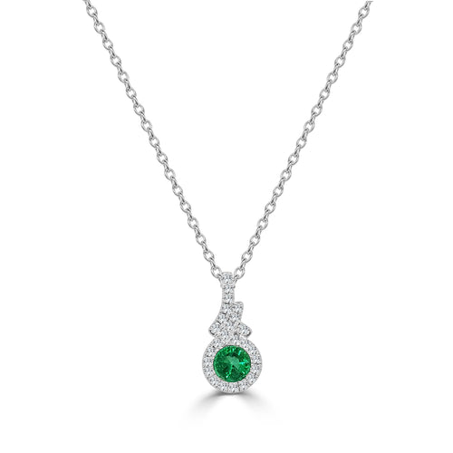 Fana Oval Emerald With Halo Fancy Necklace