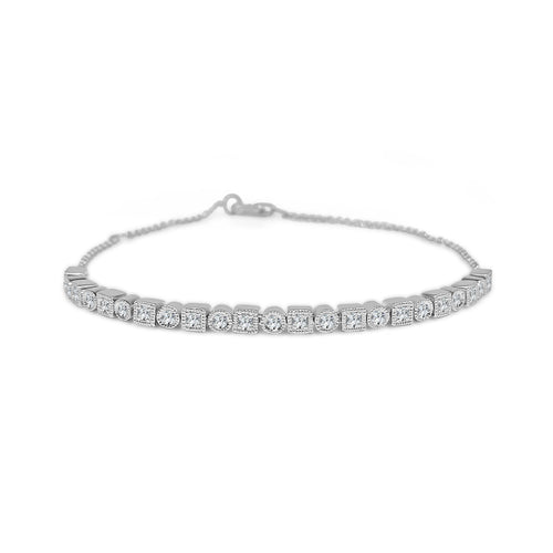 Diamond Fancy Round And Square Link Bracelet