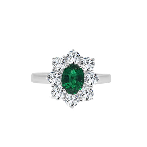 Oval Emerald With Fancy Diamond Halo Ring