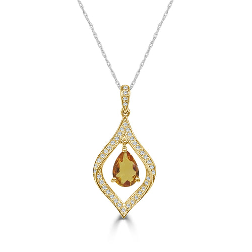 Pear Shaped Citrine With Fancy Diamond Necklace