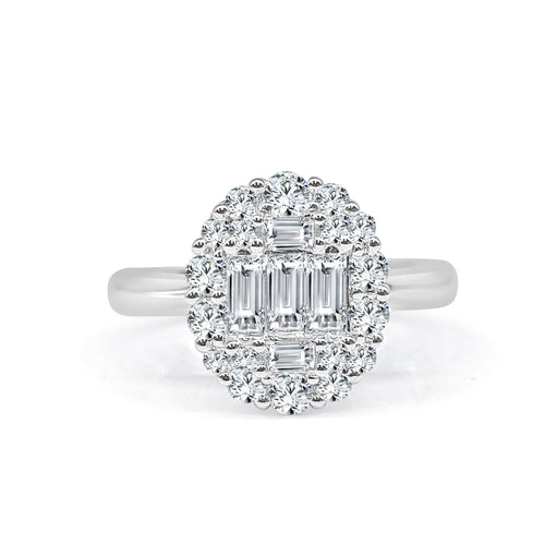 Diamond Baguette With Halo Ring