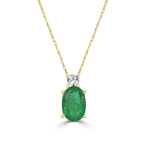 Fancy Oval Emerald With Diamond Necklace