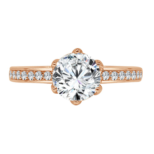 Six Prong Solitaire With Fancy Diamond Band