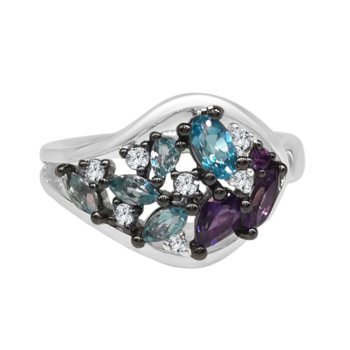 Multicolor Blue Topaz Amethyst and Diamond Fancy Ring