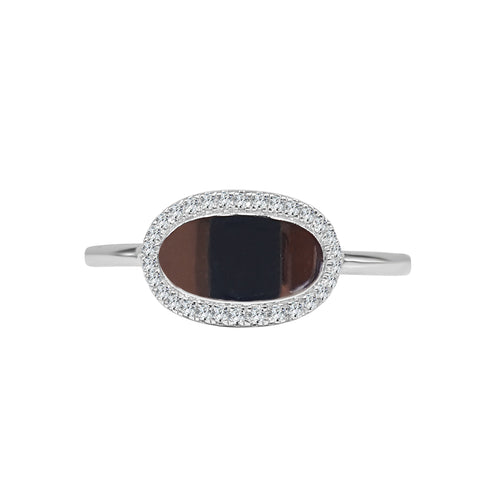 Shy Creations Oval Signet Ring With Diamond Edge