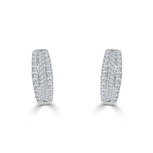 Triple Row Diamond And Baguette Hoop Earrings