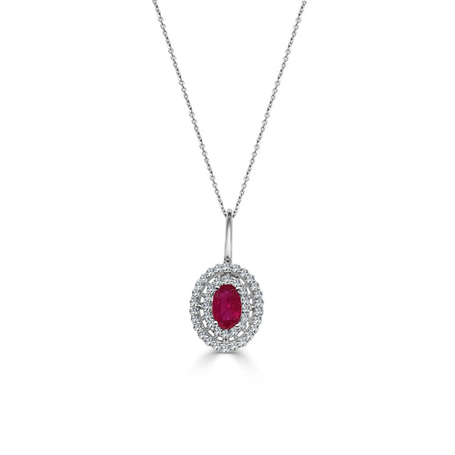 Oval Ruby Necklace With Double Diamond Halo