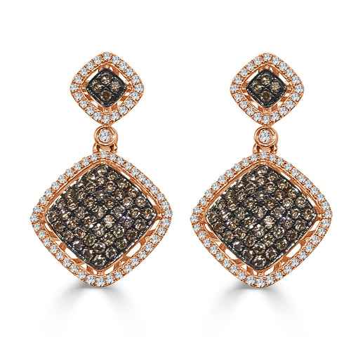 White And Brown Diamond Drop Earrings