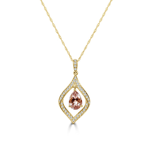 Pear Shaped Morganite And Diamond Necklace