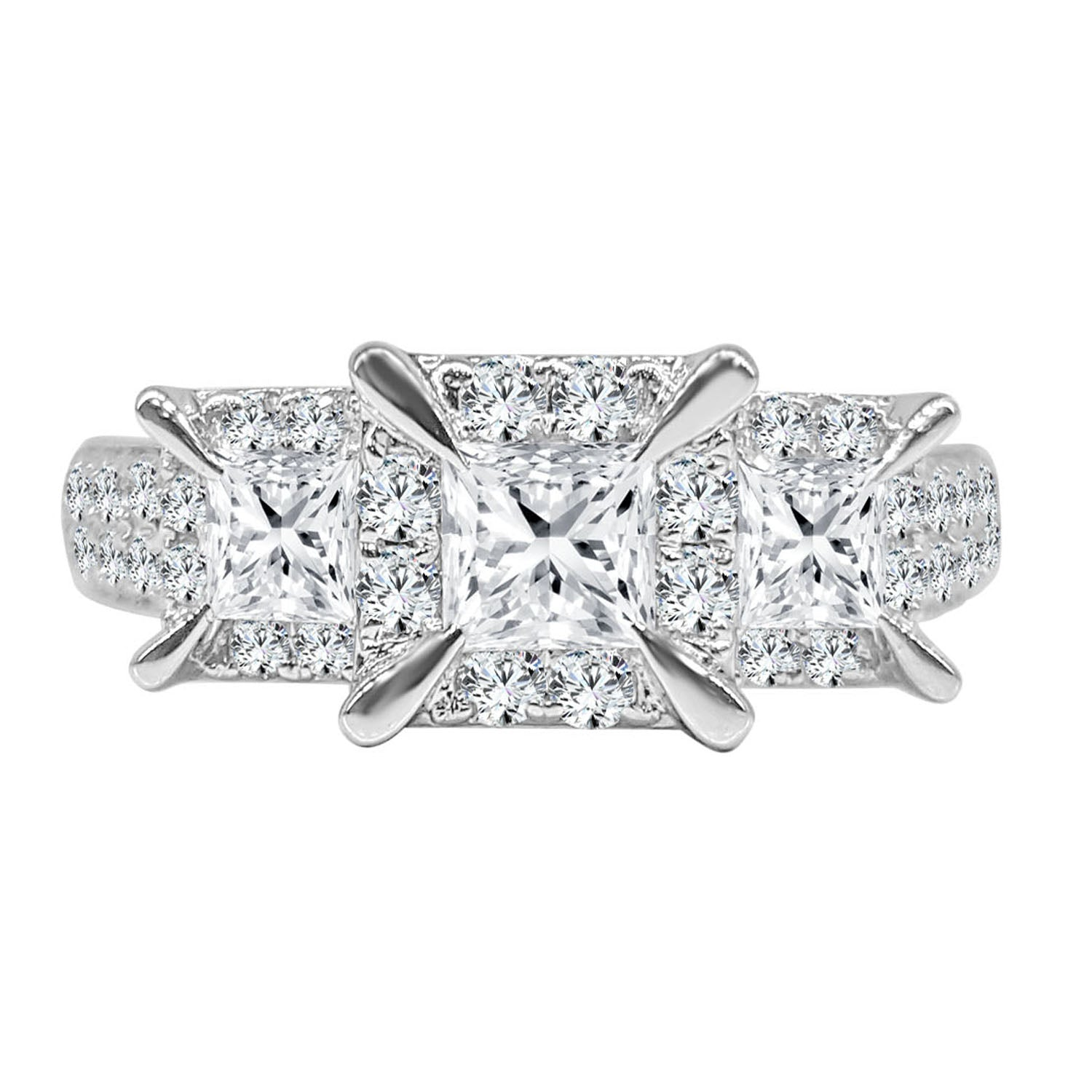 Three Stone Princess Cut Diamond Halo Ring