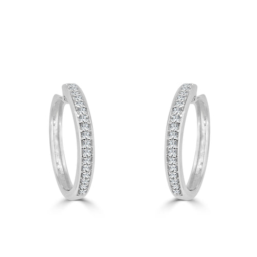 Shared Prong Diamond Huggie Hoop Earrings