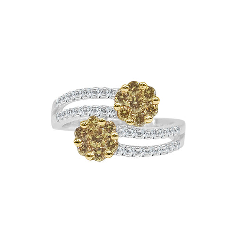 Fancy Twist Yellow And White Diamond Ring