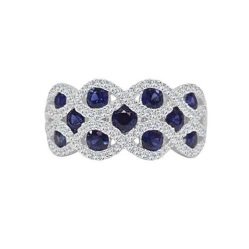 Wide Sapphire And Diamond Scalloped Ring