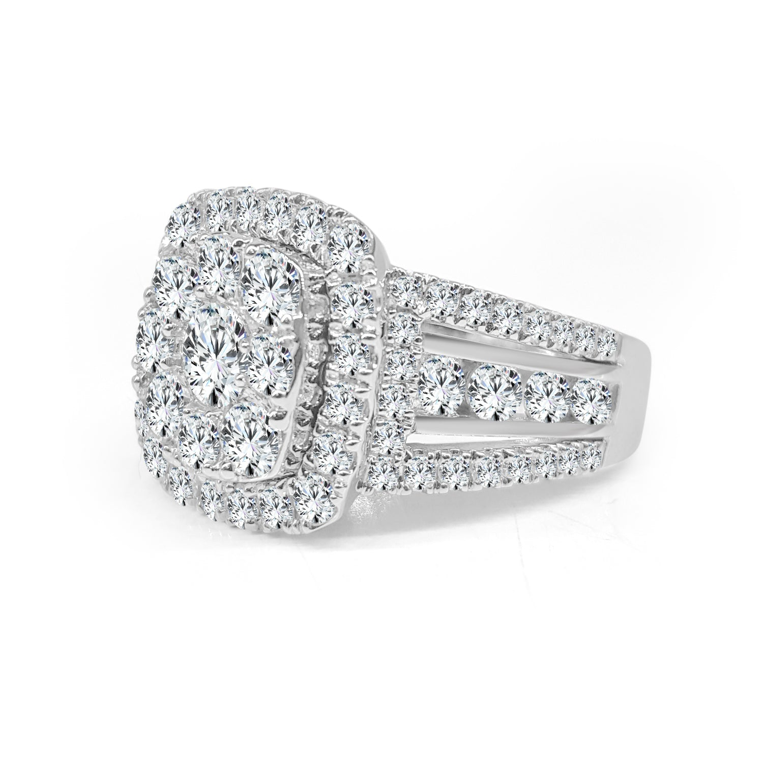 Diamond Cluster Ring With Cushion Halo And Fancy Band