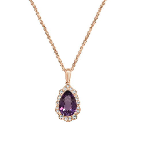 Amethyst and Diamond Rose Gold Antique Style Pear Shape Pendant