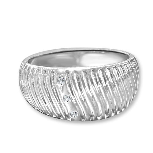 Textured Wide Diamond Fashion Ring