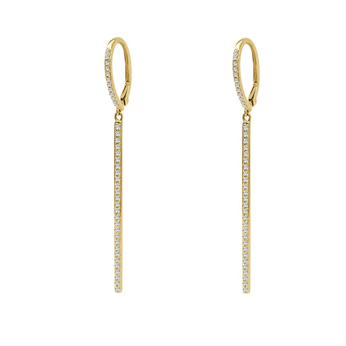 Shy Creations Thin Diamond Bar Drop Earrings