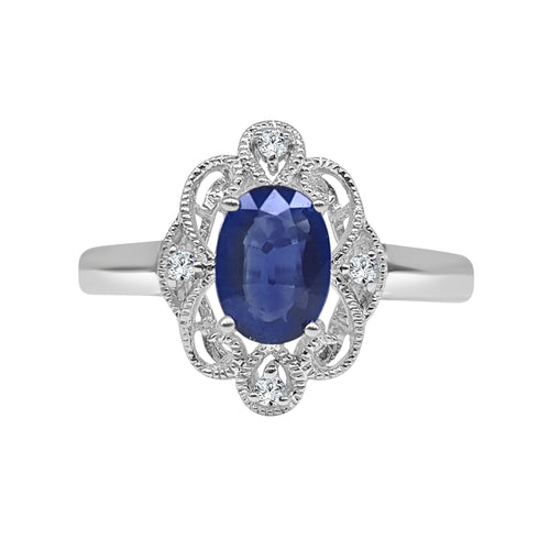 Oval Sapphire And Diamond Fancy Antiqued Ring