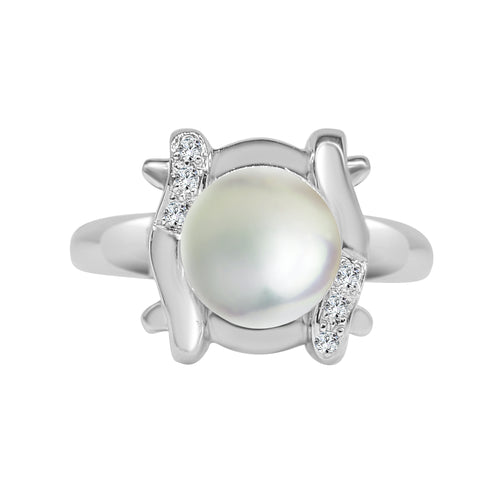 Pearl And Diamond Fancy Weave Ring