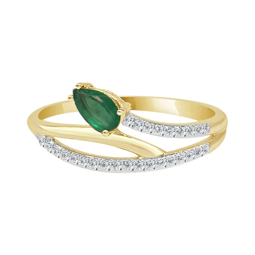 Intertwined Diamond Ring With Pear Emerald