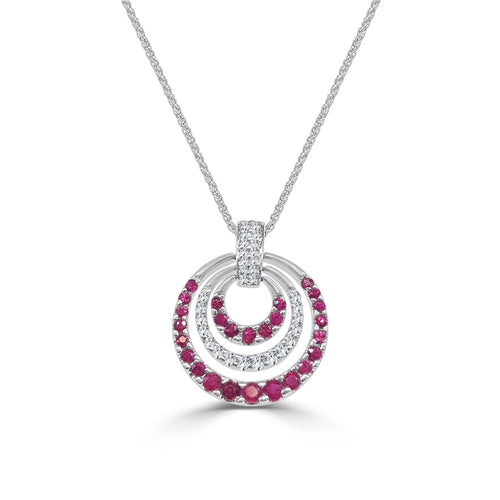 Concentric Circle Ruby And Diamond Fancy Necklace