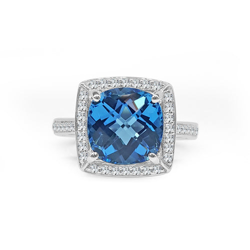 Round Blue Topaz With Cushion Halo Fancy Band