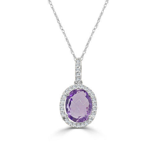 Oval Amethyst With Diamond Halo Necklace