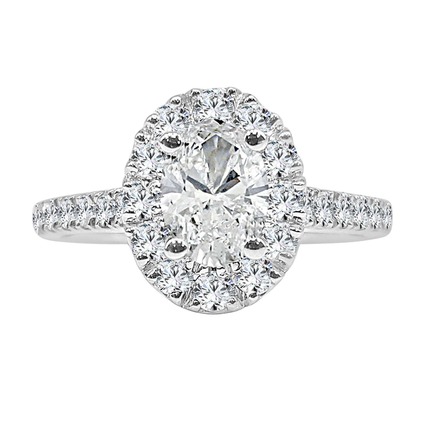 Oval Diamond Ring With Halo And Diamond Band