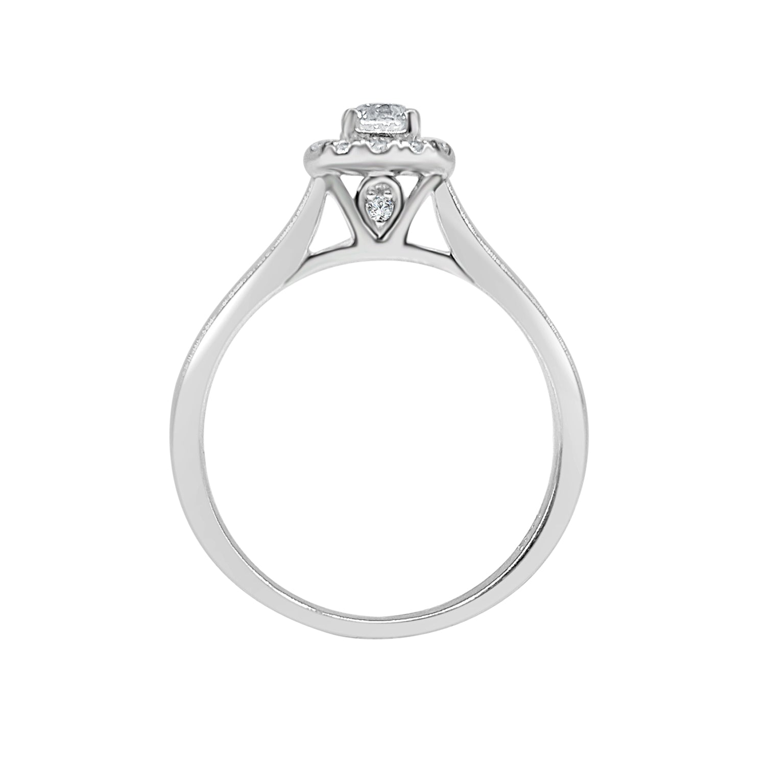 Round Diamond Halo Ring With Simple Band