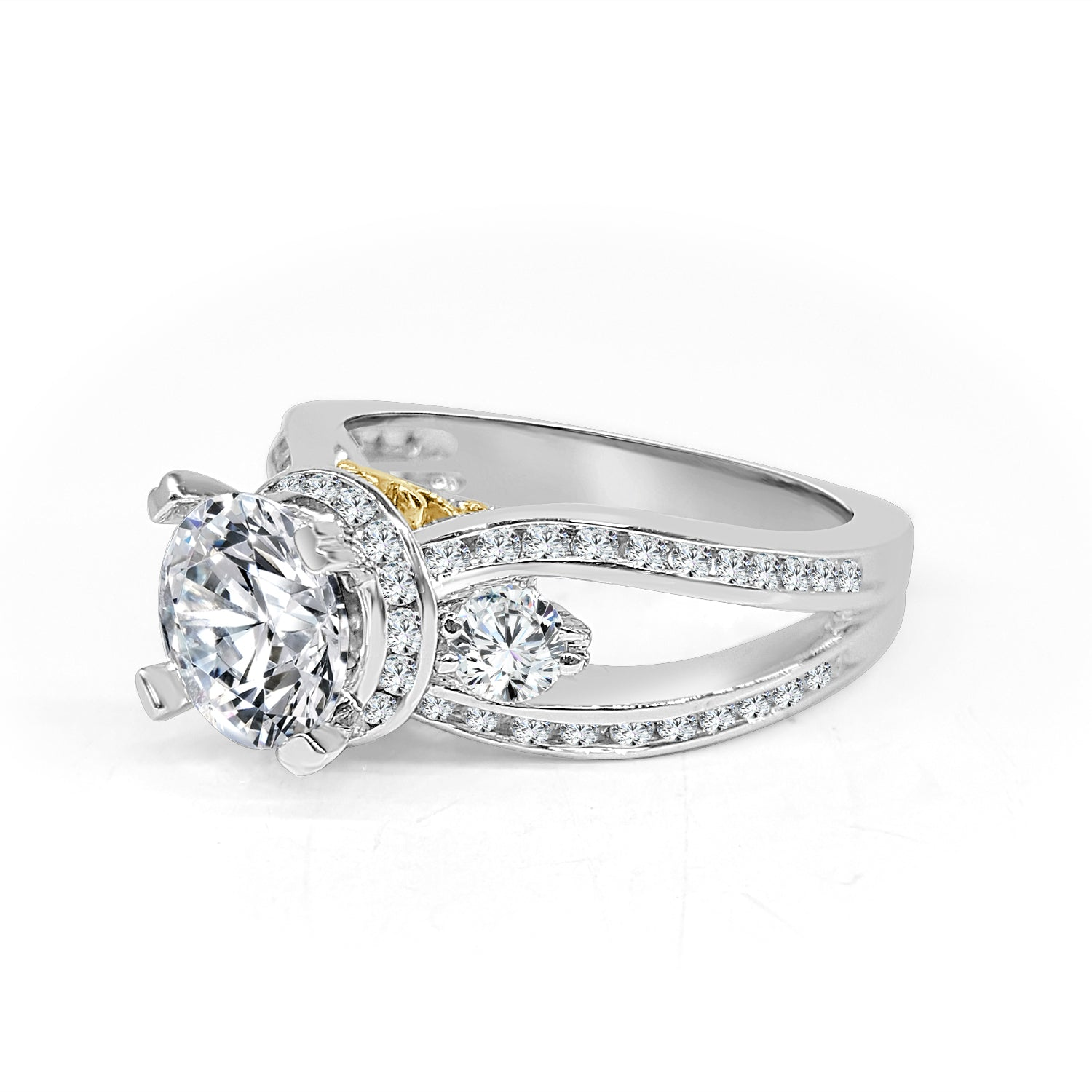 product split rings prong thin basket engagement reuven setting open diamond band