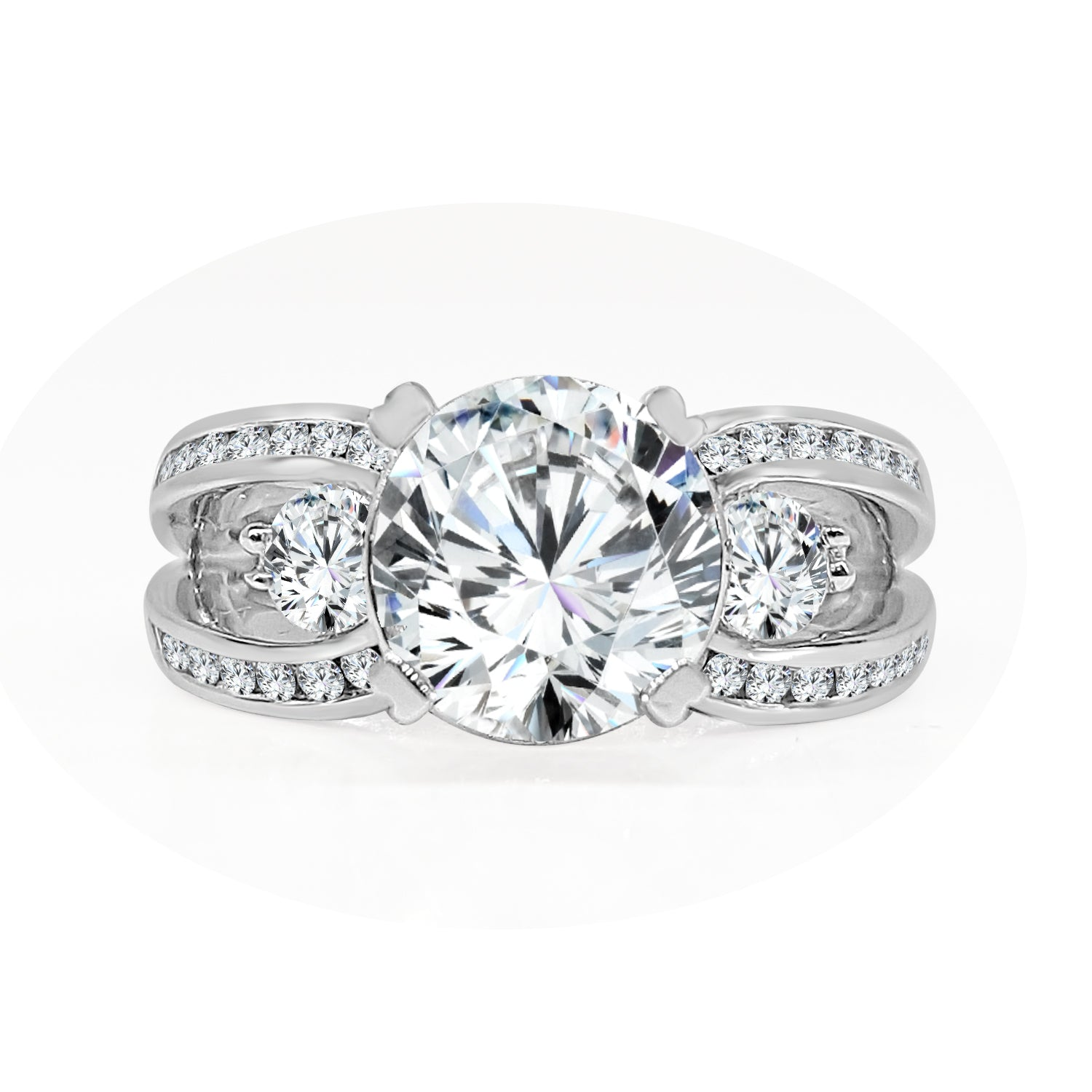 Double Band Engagement Ring With Fancy Mounting