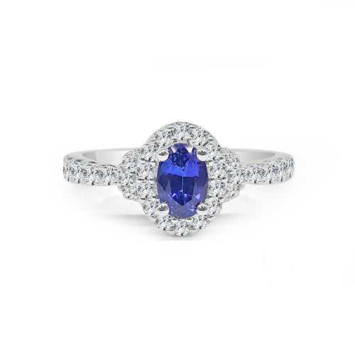 Fana Oval Sapphire With Halo And Fancy Diamond Band