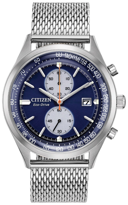 Citizen Mens Ecodrive Chronograph Blue Dial And Mesh Band