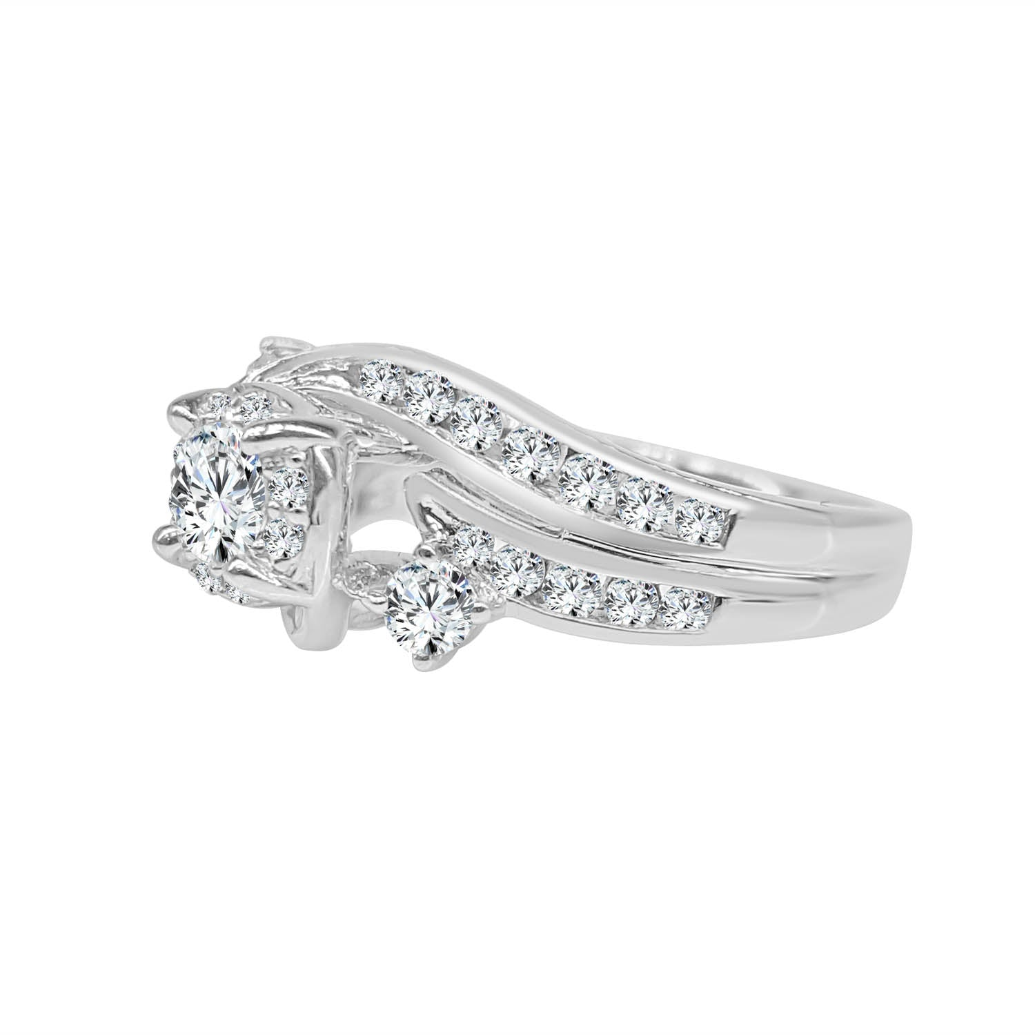 Fancy Three Stone Diamond Twist Ring